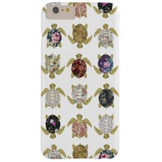 Whimsical turtles with girly floral retro pattern barely there iPhone 6 plus case