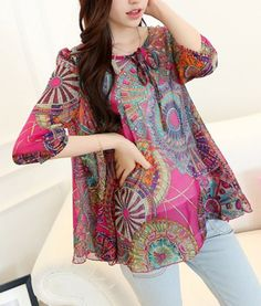 PLUM Bohemian Scoop Collar Full Pirnt Loose-Fitting Chiffon 3/4 Sleeve Women's Blouse XL