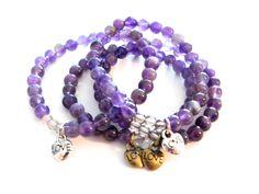 Alzheimers Awareness Handmade Mala Bead Bead Bracelets - Amethyst, Smokey Quartz, Love Charm by arkaedesigns on Etsy
