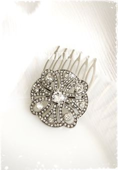 "Art Deco Great Gatsby Inspired Swarovski Crystal Hair Comb-Wedding Hair Accessories-Bridal Bridesmaids Small Crystal Hair Comb-""CHERYL"""