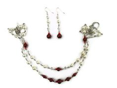 SALE Necklace Earring Gift Set Pearls Red White by CinfulDesigns, $26.00
