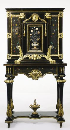 A Napoleon III gilt bronze and hardstone-mounted tortoiseshell and pewter inlaid ebony cabinet on stand, in the manner of André-Charles Boulle mid-19th century, stamped twice Monbro Aine   Georges-Alphonse-Bonifacio Monbro, called Monbro Aine (1807-1880) height 64 1/2 in.; width 33 1/4 in.; depth 18 1/2 in.