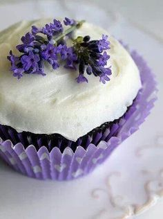 lavender cupcake for the Lavender Christmas Party!