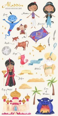 In this Aladdin Watercolor Clipart Set you will find 25 hand painted watercolor elements. All of them are PNG 300 dpi files with transparent background. Arts And Crafts For Adults, Arts And Crafts House, Easy Arts And Crafts, Arts And Crafts Projects, Arts And Crafts Interiors, Arts And Crafts Furniture, Tatto Mini, Aladdin Art, Arts And Crafts Storage