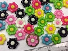 10 Assorted Colorful Detailed Resin Flower by creationandsupplies, $3.50