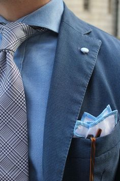 Grey Houndstooth Tie and Blue Ensemble