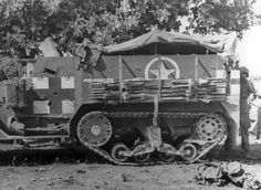 M3 Half-Track in ambulance role during Operation Husky, the invasion of Sicily on July 11, 1943