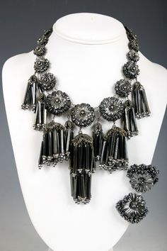 Miriam Haskell c.1950 Hematite stone and glass necklace and earrings