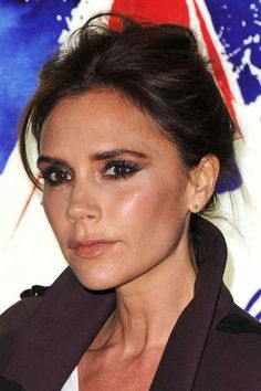 Victoria Beckham Long Straight Casual Updo Hairstyle Dark - Beckham's hairstyle history