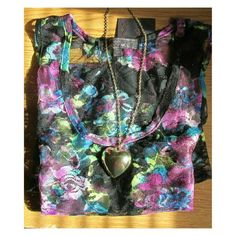 """*firm price* """"Midsummer's Night's Dream"""" Tank Beautiful full lace tank with a flower print.  This tank has no shell.  Just lace. The tank looks like a watercolor they way it's printed and the colors used..  Super pretty.  NWOT  DD 27.02.16 Almost Famous Tops Tank Tops"""