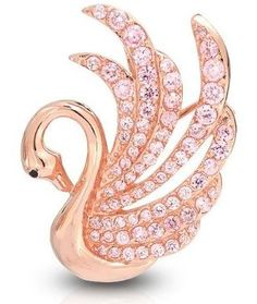 Rose Gold Plated Pink Topaz CZ Swan Pendant Brooch Pin