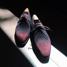 Corthay Arca burgundy suede with patina. Viola!! #Padgram