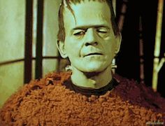 """nitratediva:  """" Boris Karloff, wearing his Frankenstein's monster makeup, goofs off in some color home movie footage from the set of Son of Frankenstein (1939).  Happy Halloween, everyone!  """""""