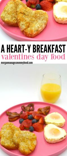 The perfect breakfast Valentines Day food - a HEART-y breakfast made with lots of heart! This valentine's day breakfast is the perfect way to show you care without  the work. #valentinesday #funfood #funkidfood  via @morganmanages