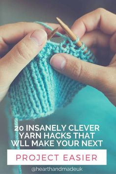 20 Insanely clever yarn hacks that will make your next project easier Do you crochet? Wanna discover some insanely clever yarn hacks that will make your next project easier? This post will blow you away! Knitting Help, Knitting For Beginners, Knitting Stitches, Knitting Patterns, Cowl Patterns, Loom Knitting, Knitting Needles, Easy Knitting Projects, Sewing Projects