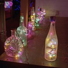 Old colored lights used to make garden lanterns