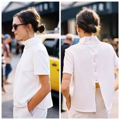 New York Fashion Week SS 2015 Everyday Casual Outfits, Everyday Fashion, New York Fashion, Remake Clothes, Classy Casual, Urban Dresses, Blouse Outfit, White Fashion, Simple Dresses