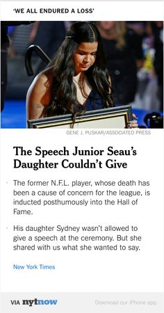 NYT Now: The Hall of Fame Speech Junior Seau's Daughter Couldn't Give  http://nyti.ms/1Md5n7t