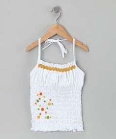 Take a look at this White Smocked Halter Top - Toddler & Girls by Smock Couture on #zulily today!
