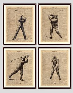 """Golf Print, Golf Decor, Golf art, Gift 4 Golfers, golfing art, """"Golf"""" vintage dictionary page reproduction, digital Antiqued Paper, set of 4 by DicosArt on Etsy"""