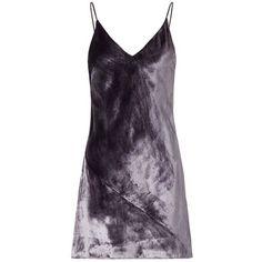 Fleur Du Mal Smoke Panne Velvet Dress (1.260 BRL) ❤ liked on Polyvore featuring dresses, v neck mini dress, mini dress, violet dress, lined dress and short dresses