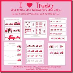 Free Printables for BOYS - I think my GIRLS will love this just for the simple fact that it has trucks :)