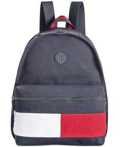 Tommy Hilfiger Colorblock Canvas Basic Backpack In Navy Tommy Hilfiger Fashion, Tommy Hilfiger Bags, Backpack Brands, Backpack Online, Black Leather Backpack, Backpack Straps, Backpacker, Bag Accessories, Shopping