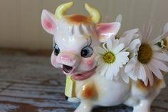 Vintage Kitschy Cow Creamer Planter Vase Farmhouse by CottageBlu