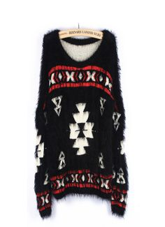 Black Imitation Mohair folk style geometric totem Pullover Sweater