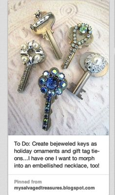 """My family always had a """"junk drawer"""" for at least the last 4 generations. I inherited it, and in the drawer were a large number of keys,  the door/box/trunk they opened  were long gone (I think).  Too heavy as a  necklace, good as small wind chime, but they are perfect for Christmas ornaments, dressed up with baubles from the craft aisle. And they come with a hole for hanging.  Use jewelery glue, & some keys can make a pin.  Kids will love to help!"""