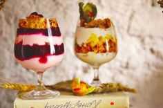 Two types of parfaits: with fruit and berries.