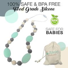 DADF Teether Baby Teething Necklace Sky Blue Infant Silicone Beads Pendant