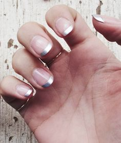 Metallic French manicure