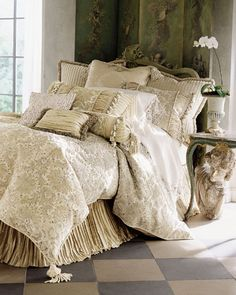 Varying Shades Of Cream And Taupe With Pleated Bed Skirt. Bedroom Bed, Home Decor Bedroom, Sophisticated Bedroom, Small Apartment Decorating, Make Your Bed, Bedroom Styles, Dream Rooms, Beautiful Bedrooms, Decoration