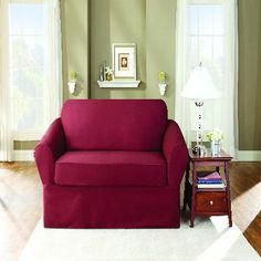 Twill Supreme 2pc Sofa Stretch Slip Cover  - Merlot