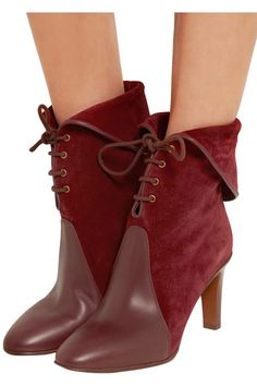 Chloé - Leather-paneled Suede Ankle Boots - Burgundy