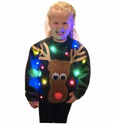 KID'S Ugly CHRISTMAS SWEATER Rudolph Lights Up by TipitDesigns