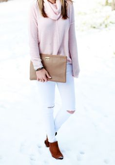 Blush Sweater & White Distressed Jeans