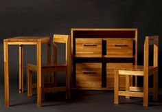 """Transformer Cupboard from Uruguay hides table & seating for 2 """"…designer Claudio Sibille"""