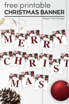 Floral Christmas banner letters to print a custom Christmas banner. Print a fun free holiday banner with these Christmas flowers on them. #papertraildesign #christmas #merrychristmasbanner #Christmasbanner #christmasdecor #floralchristmas