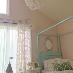 paint color is Faint Coral by Sherwin Williams - Isla's room Nursery Paint Colors, Pink Paint Colors, Room Paint, Hallway Colours, Wall Colors, Basement Painting, Feminine Bedroom, Girls Bedroom, Bedroom Ideas