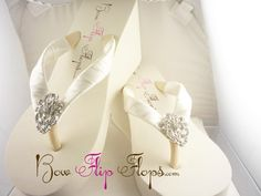 Bridal Wedge Flip Flops Ivory Lace Rhinestone Bling Satin White Jewel Bride Wedding Ribbon Bow, Great for brides, bridesmaids on Etsy, $43.00