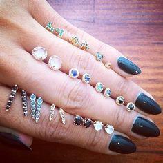 Dainty #Gemstone + #Diamond dusted stud earrings for all!!...