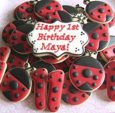 One Dozen (12) Lady Bug First Birthday Decorated Sugar Cookies on Etsy, $36.00