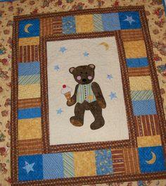 Baby boy quilt  teddy bear applique poatchwork wall hanging