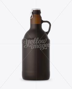 Amber Matte Beer Bottle Mockup - Front View