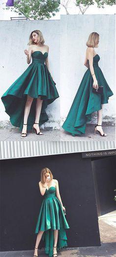Green Prom Dresses, High Low Prom Dresses, A-line Prom Dresses Sweetheart, Satin Prom Dresses Asymmetrical, Simple Prom Dresses Ruffles