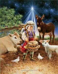 Little Drummer Boy by Dona Gelsinger ~ Nativity Christmas Scenes, Christmas Nativity, Christmas Pictures, Christmas Art, Winter Christmas, Christmas Classics, Christmas Stockings, Beautiful Christmas, The Little Drummer Boy