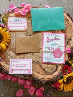 tape deck inspired wedding invitation suite #weddingchicks
