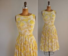 Vintage '50s Yellow Floral Dress, $68